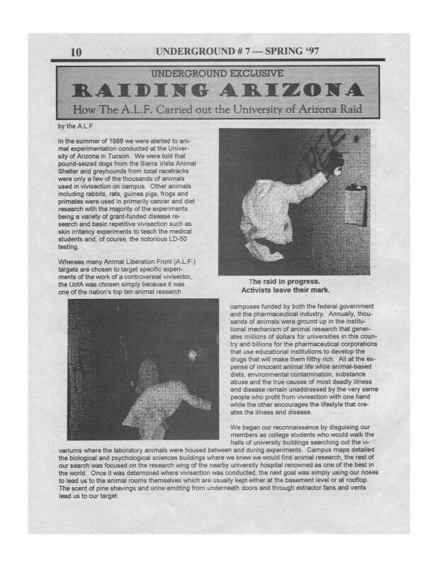 Raiding Arizona – How the ALF carried out the University of Arizona Raid (1997)