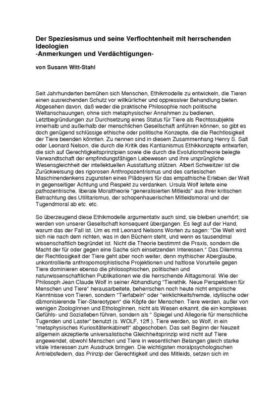 Read more about the article Der Speziesismus und seine Verflochtenheit mit herrschenden Ideologien (Tierrechts-Aktion-Nord)