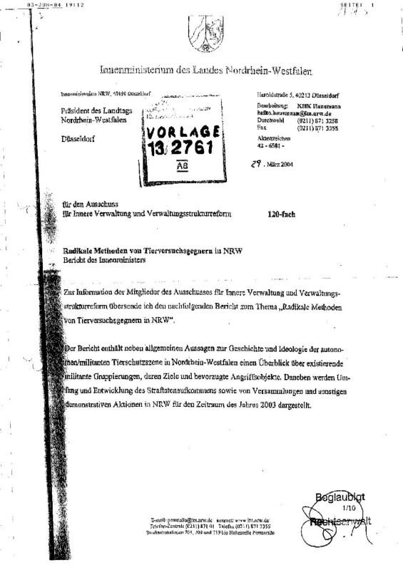 Read more about the article Innenministerium NRW: Radikale Methoden von Tierversuchsgegnern in NRW (2004)