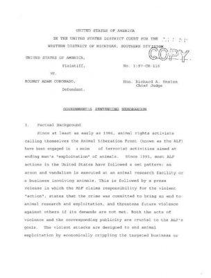 Read more about the article Rod Coronado's Sentencing Memorandum (USA, Jul 1995)