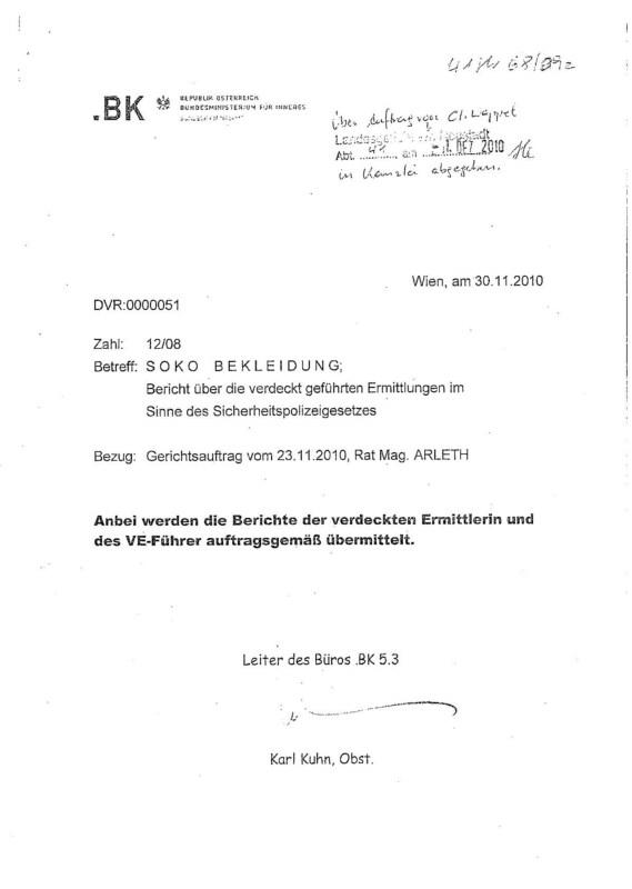 "Austrian §278a Trial: ""Soko Bekleidung"": Police Informer Protocols (Vienna, 2010)"