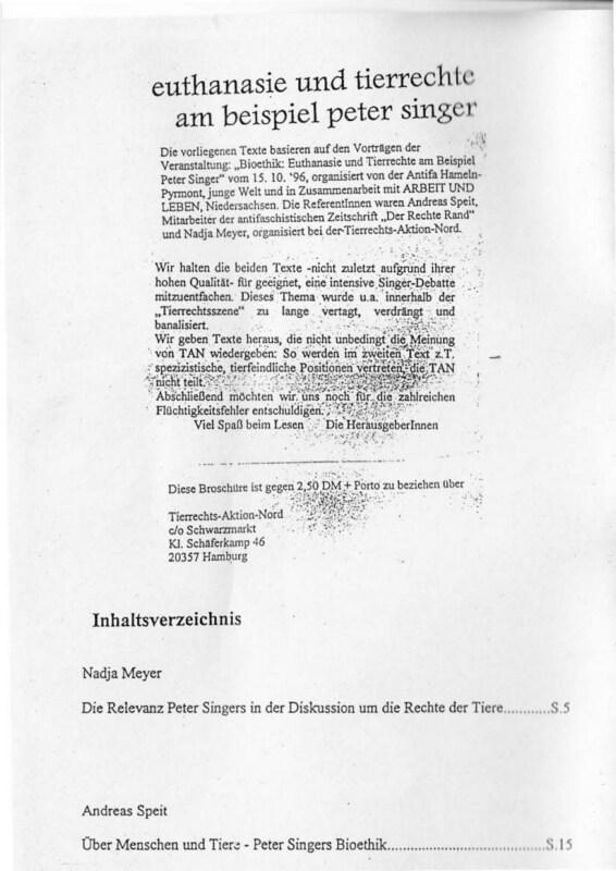 Euthanasie und Tierrechte am Beispiel Peter Singer (Tierrechts-Aktion-Nord, 1997)